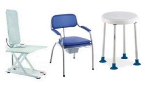 Matériel pour la salle de bain (tabourets, sièges, tapis, brosse, élévateur, etc.)